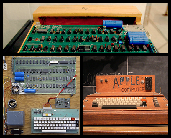 Before the IPO, at the very beginning when it was just the founders, their first product was the following:    The Apple I, Apple's first product, was sold as an assembled circuit board and lacked basic features such as a keyboard, monitor, and case. The owner of this unit added a keyboard and a wooden case.