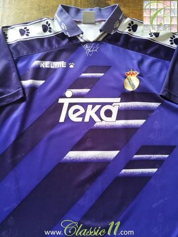 19d742a2a Relive Real Madrid s 1994 1995 La Liga season with this original Kelme away  football shirt.