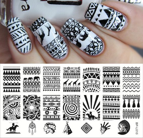 Aztec Pattern Nail Art Stamp Template Image Plate BORN PRETTY BP - stamp template