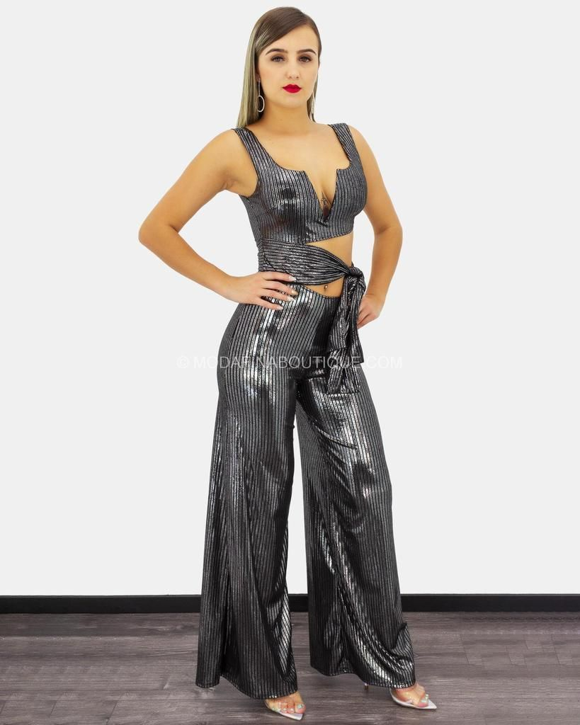 3ffc0124eab Aubriella Ribbed Metallic Detail Cutout Plunging Jumpsuit ...