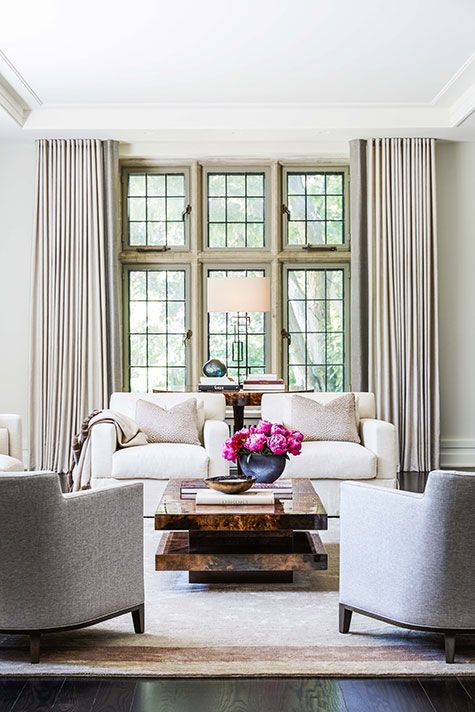 Living room by julie charbonneau design also takes  bespoke approach to clean lined rh pinterest