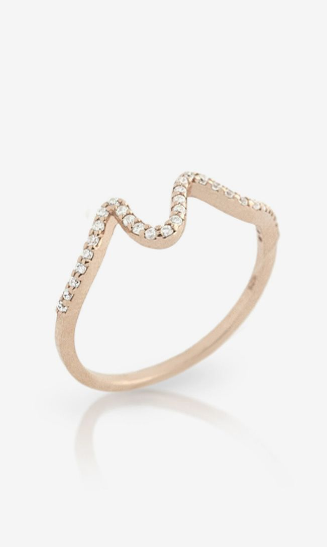 Rose Gold Simulated Diamond Wave Stackable Ring accesorios