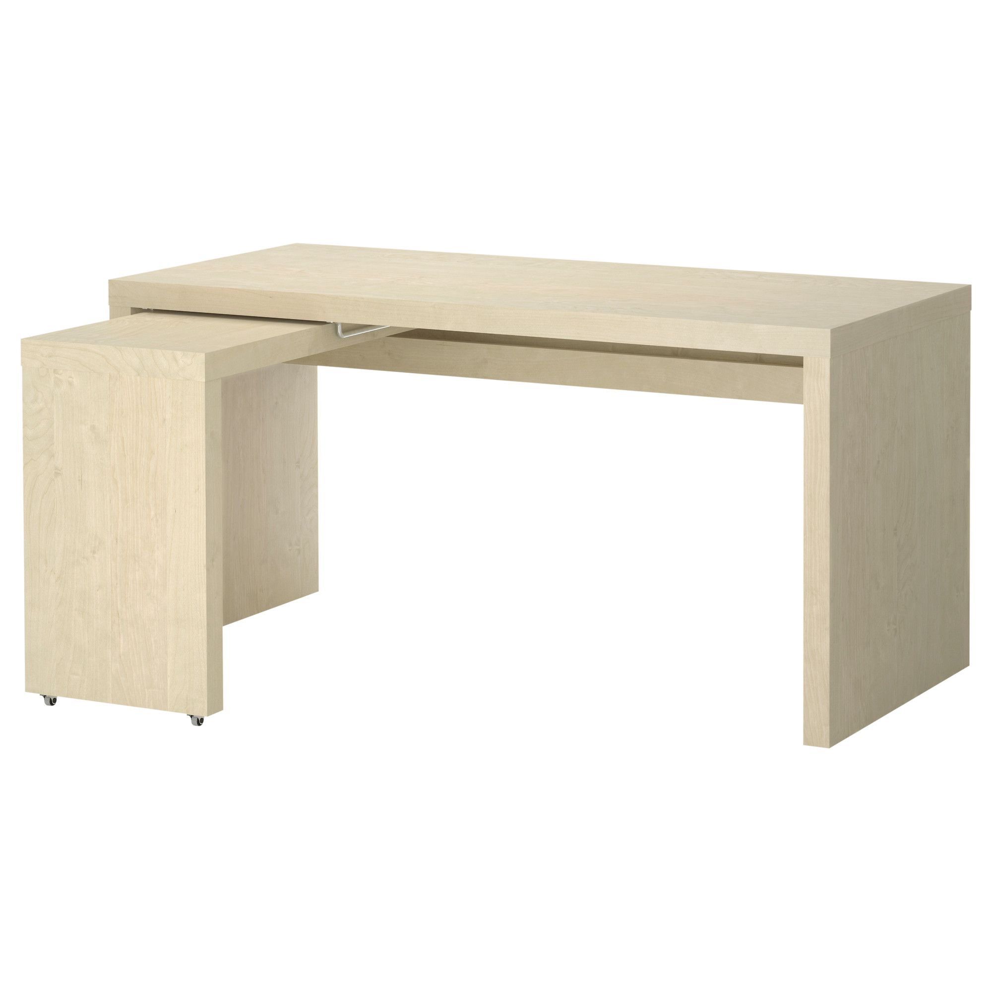 IKEA - MALM, Desk with pull-out panel, birch veneer, Might be good ...