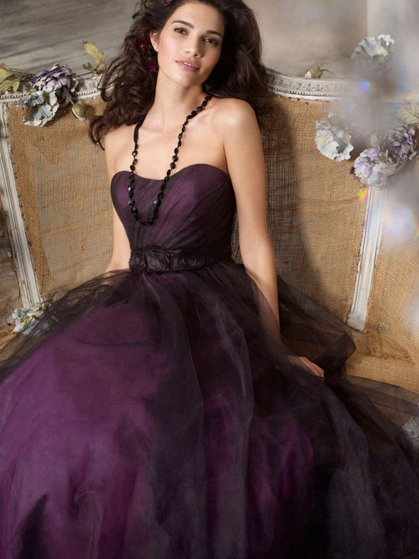 Black Tulle Over Eggplant Strapless Long Bridesmaid Ball Gown ...
