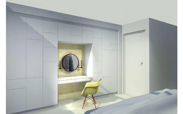3D visual kastenwand op maat slaapkamer project overhoeks