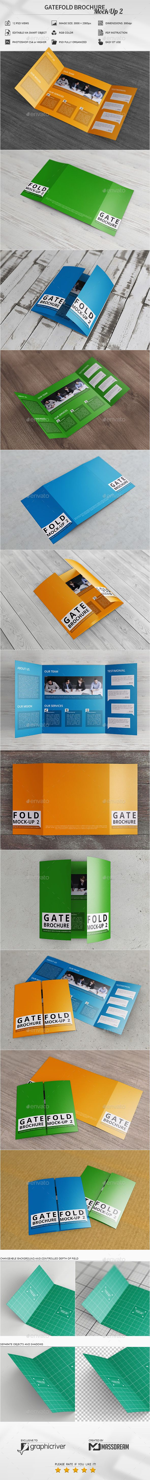 Gatefold Brochure MockUp   Brochures Mockup And Adobe