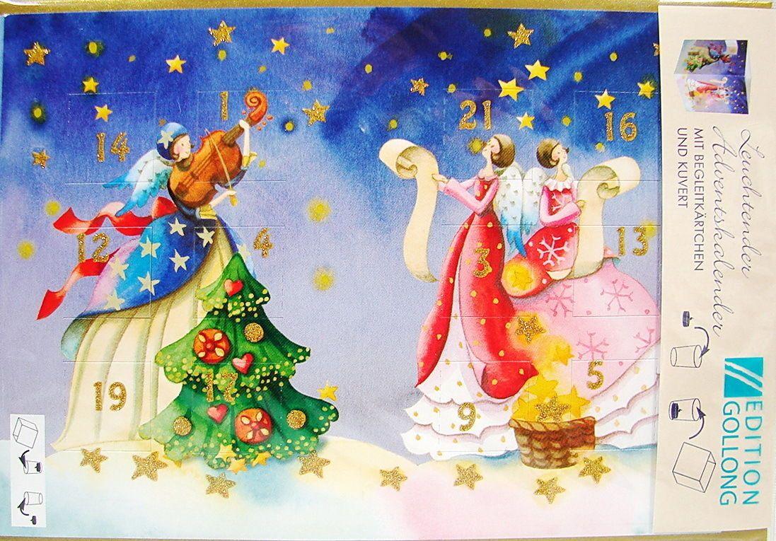 weihnachtskarte leuchtender adventskalender karte engel. Black Bedroom Furniture Sets. Home Design Ideas