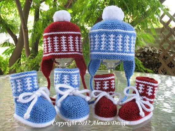 Knitting Pattern Set - Knit Pom-Pom Ear Flap Hat & High-Top Baby ...