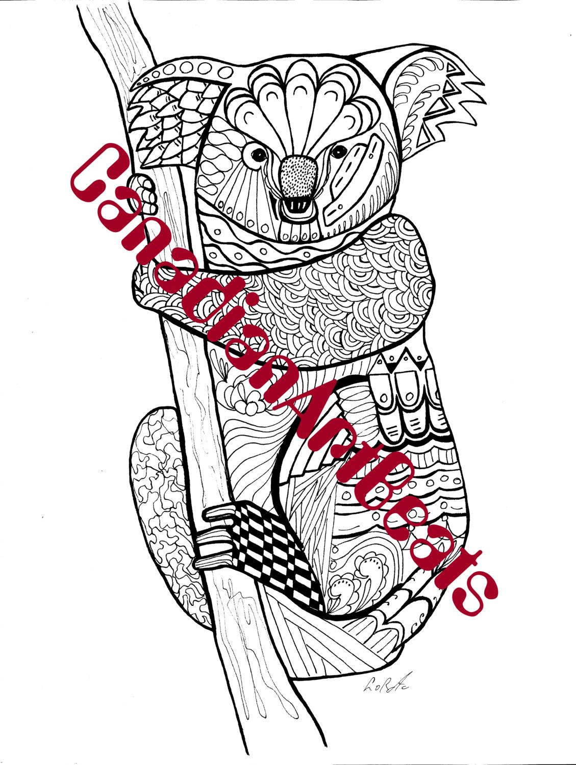 Downloadable Koala bear Zentangle inspired Coloring Page by ...