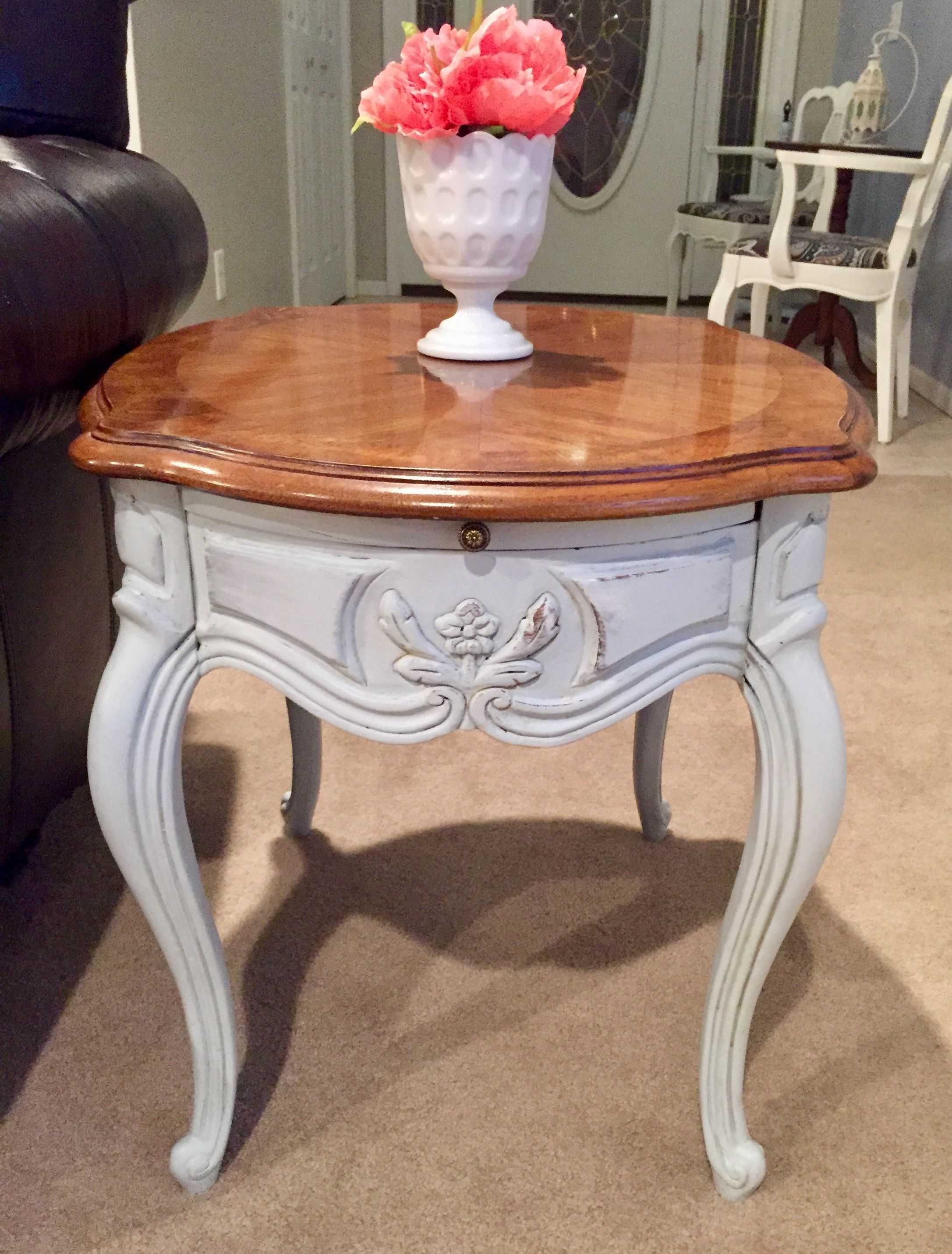 French Country End Table Chalk Paint Distressed Furniture Flip Thedeckerator Flipping Furniture Furniture Table