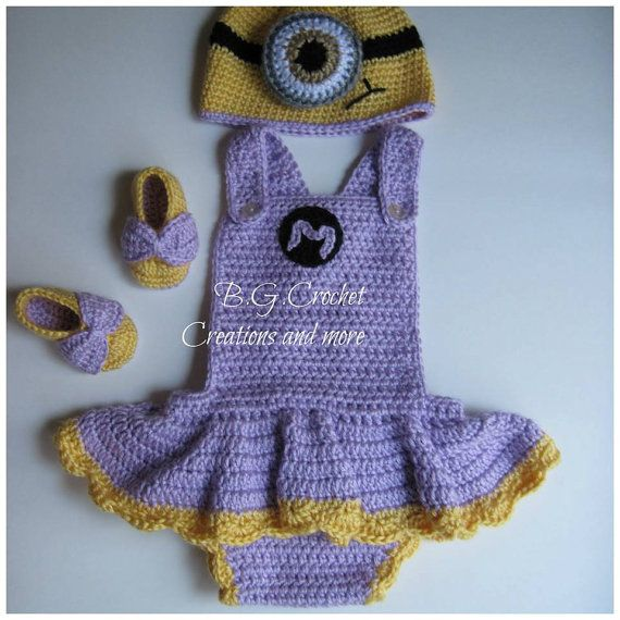 Crochet Baby Girl Minion Inspired Outfit, Minion Hat Dress Shoes, Infant Minion Shoes,Baby Minion Costume You Choose Color