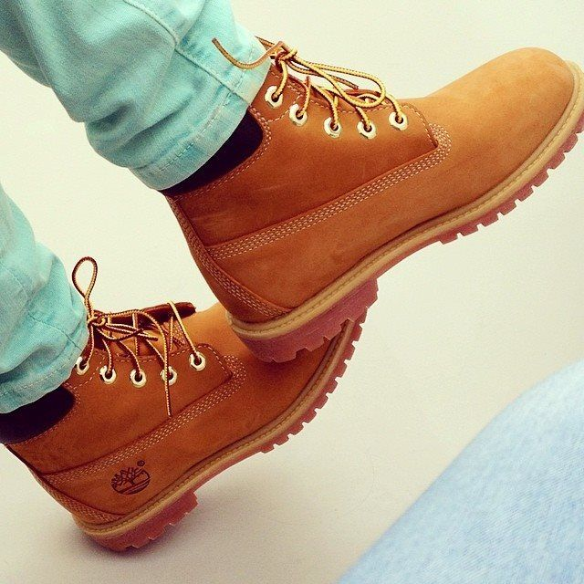We love mint green and wheat together #timberland #shoes