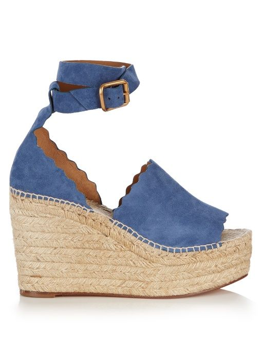 Chloé Lauren suede espadrille wedge sandals