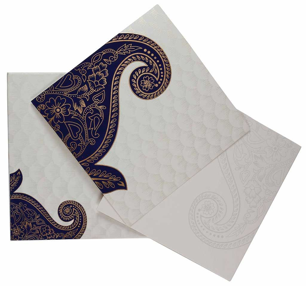 templates for wedding card design%0A Indian Wedding Card In Cream And Golden With Blue Paisley Design