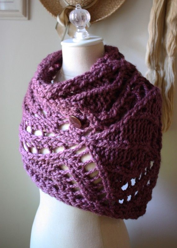 Knitting Pattern / Chunky Modern Lace Cowl Capelet Wrap Super Bulky ...