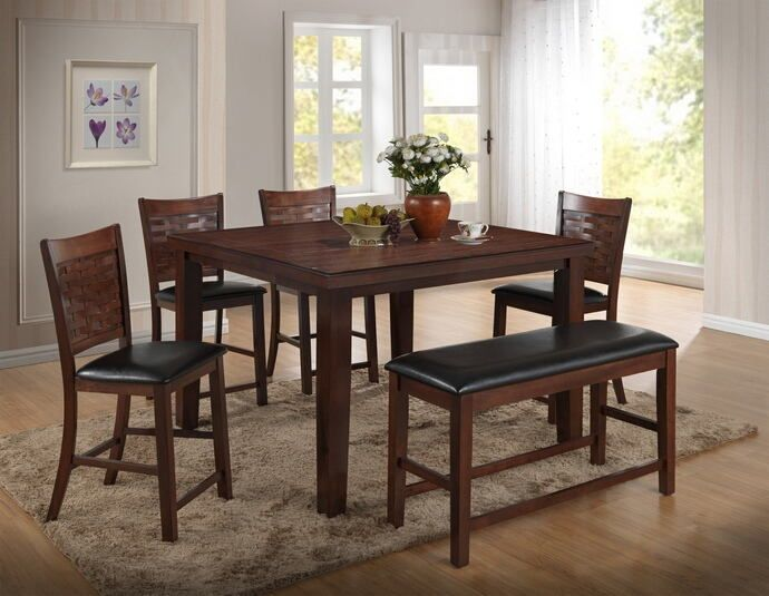 6 Pc Pleasanton II Collection Espresso Finish Wood Counter Height Dining Table Set This Includes The 4