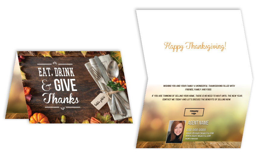 From the 2015 Thanksgiving Card  Collection by One Step Services. Use variable data to personalize these Thanksgiving cards. Size 5x7. Order by calling 949-587-5301 or emailing info@onestepservices.com
