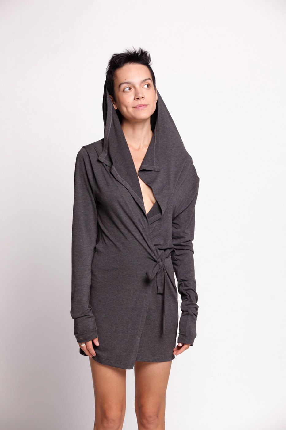 Long Sleeve Hooded Jersey Cardigan by duende74 on Etsy, $139.00 ...
