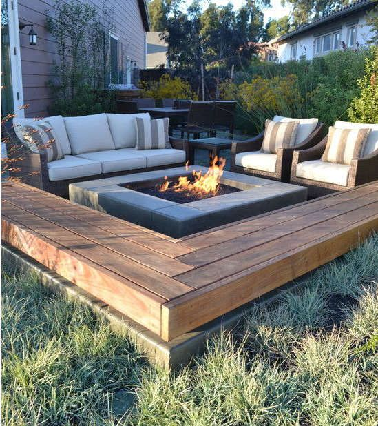 terrasse et coin feu feu ext rieur pinterest feu. Black Bedroom Furniture Sets. Home Design Ideas