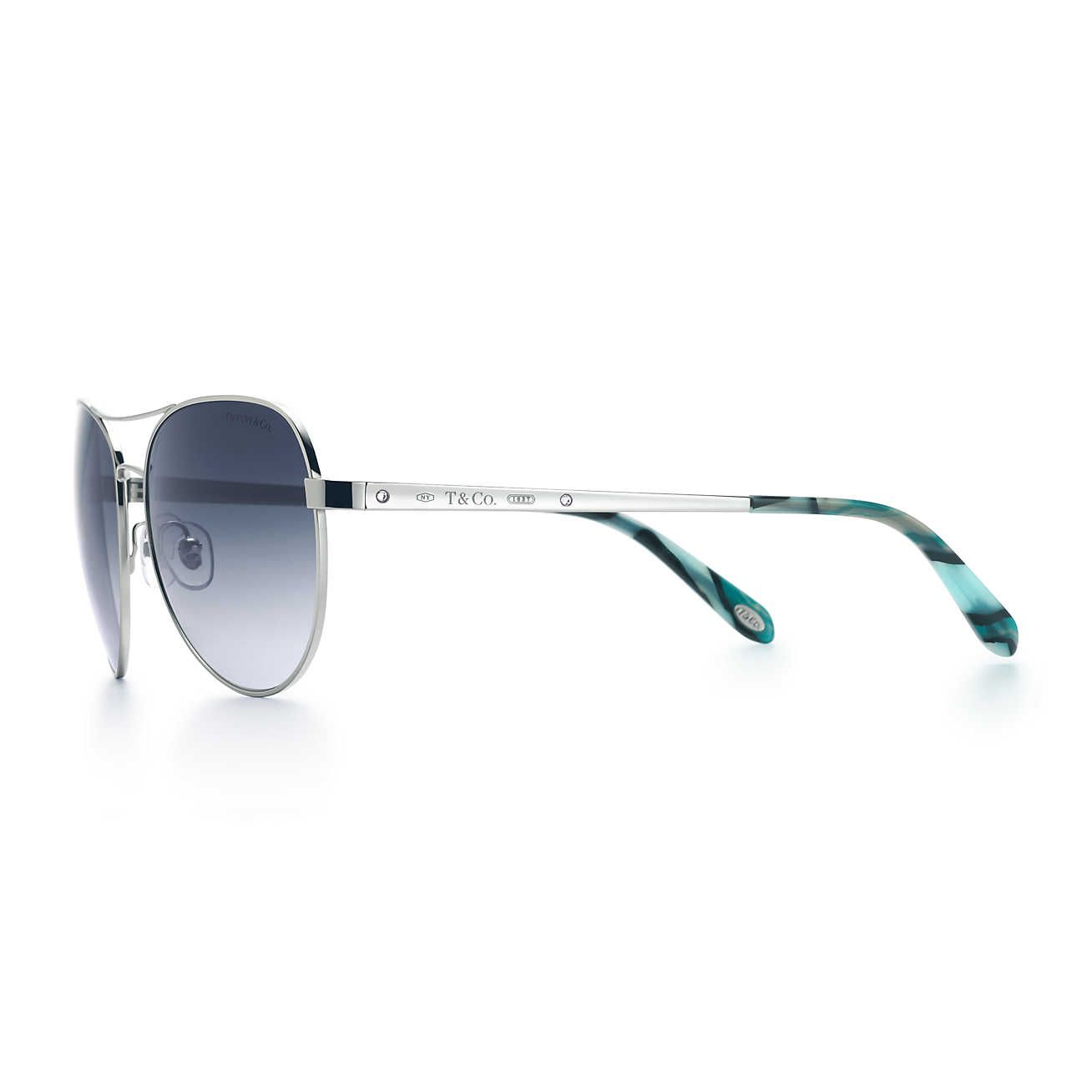 ac2696822b4 Tiffany 1837® aviator sunglasses in silver-colored metal and acetate ...