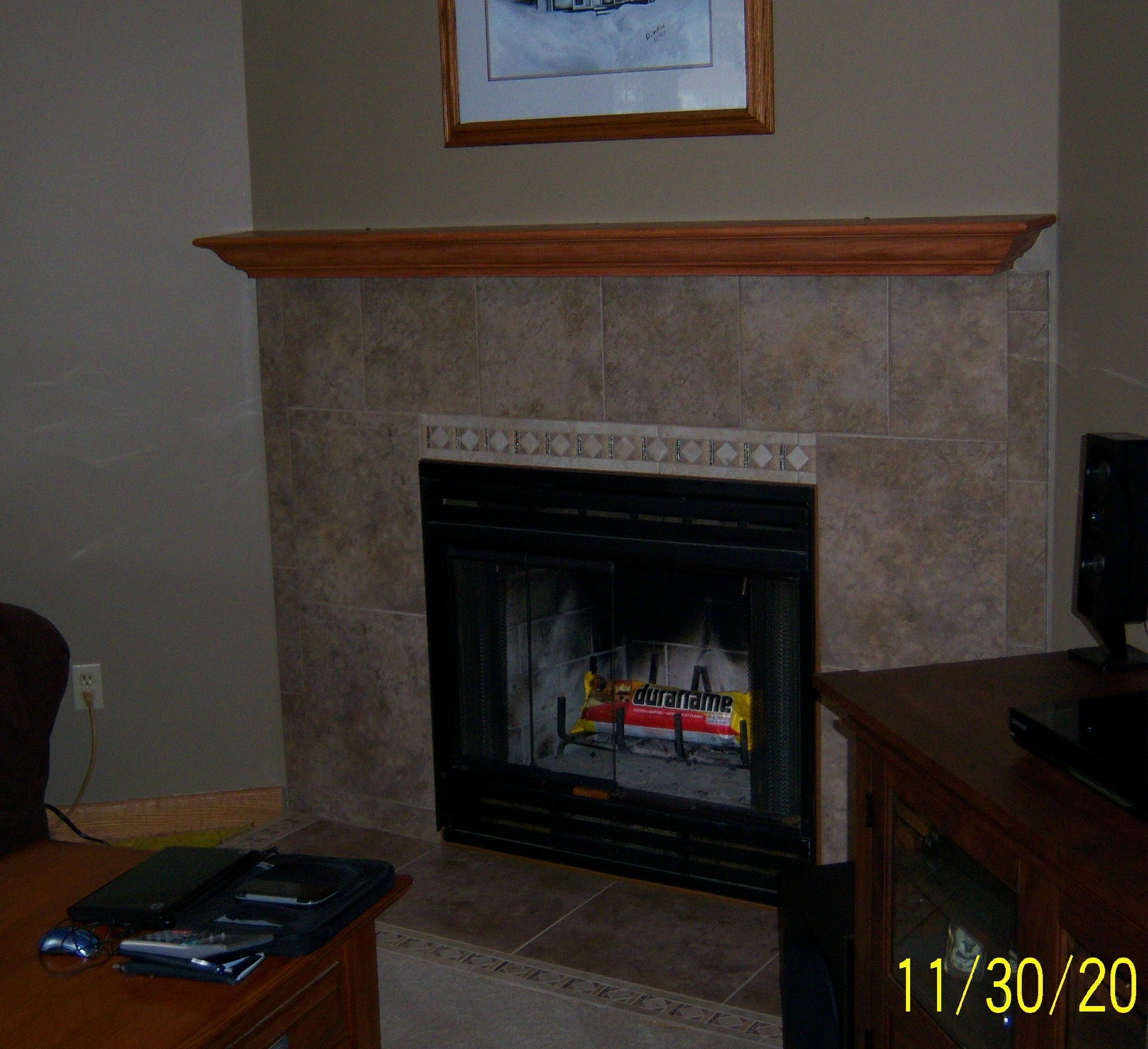 Our tile fireplace