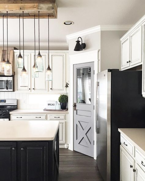 White Kitchen Cabinets Black Island Gray Painted Pantry Door In Farmhouse Style