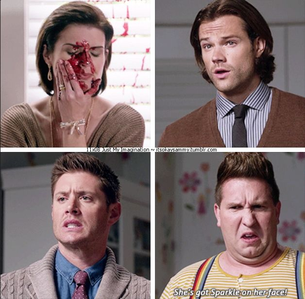 """Just My Imagination - """"She's got Sparkle on her face!"""" - Sam & Dean Winchester and Sully; Supernatural - one of my favorite scenes."""