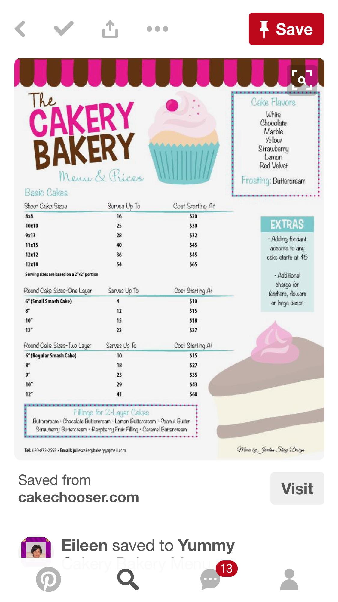 Pin By Starley28 On Pasteles Postres Bakery Menu Cake Pricing Cake Business