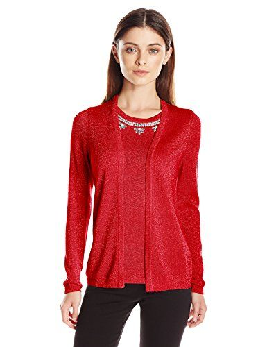 awesome Notations Women's Petite Long Sleeve Flyway Cardigan with Sweater Inset
