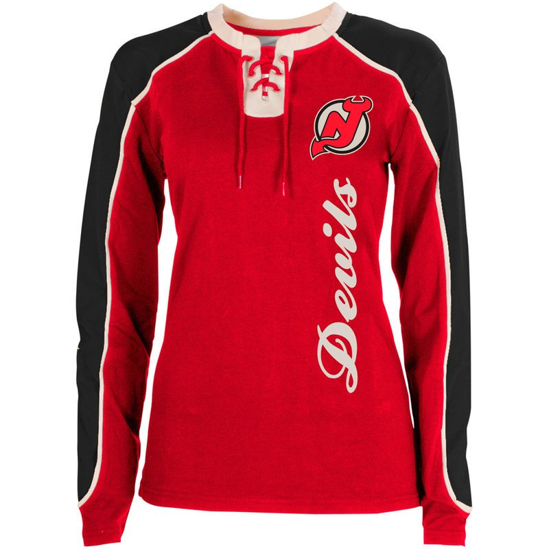 c272cb231 Old Time Hockey New Jersey Devils Women s Nora Lace Up Long Sleeve T-Shirt  - Red Black