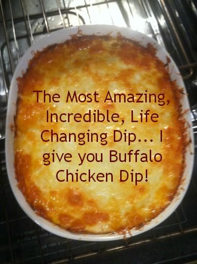 I meant to include this on Six On Sunday. Beware... it is ADDICTING and you WILL BE the most popular gal at the party. BUFFALO CHICKEN DIP 4 boneless cooked chicken breasts shredded or diced 2/3 bo... #buffalochickendip