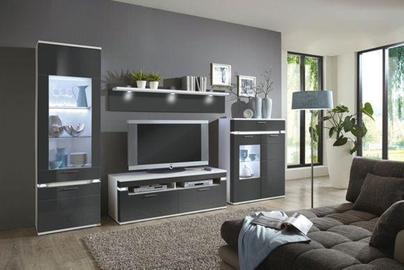WOHNWAND Graphitfarben House - möbel wohnzimmer modern