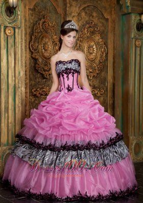 9fba0a7d1f4 New Elegant Rose Pink Quinceanera Dress Strapless Picks-Up Organza and Zebra  Ball Gown