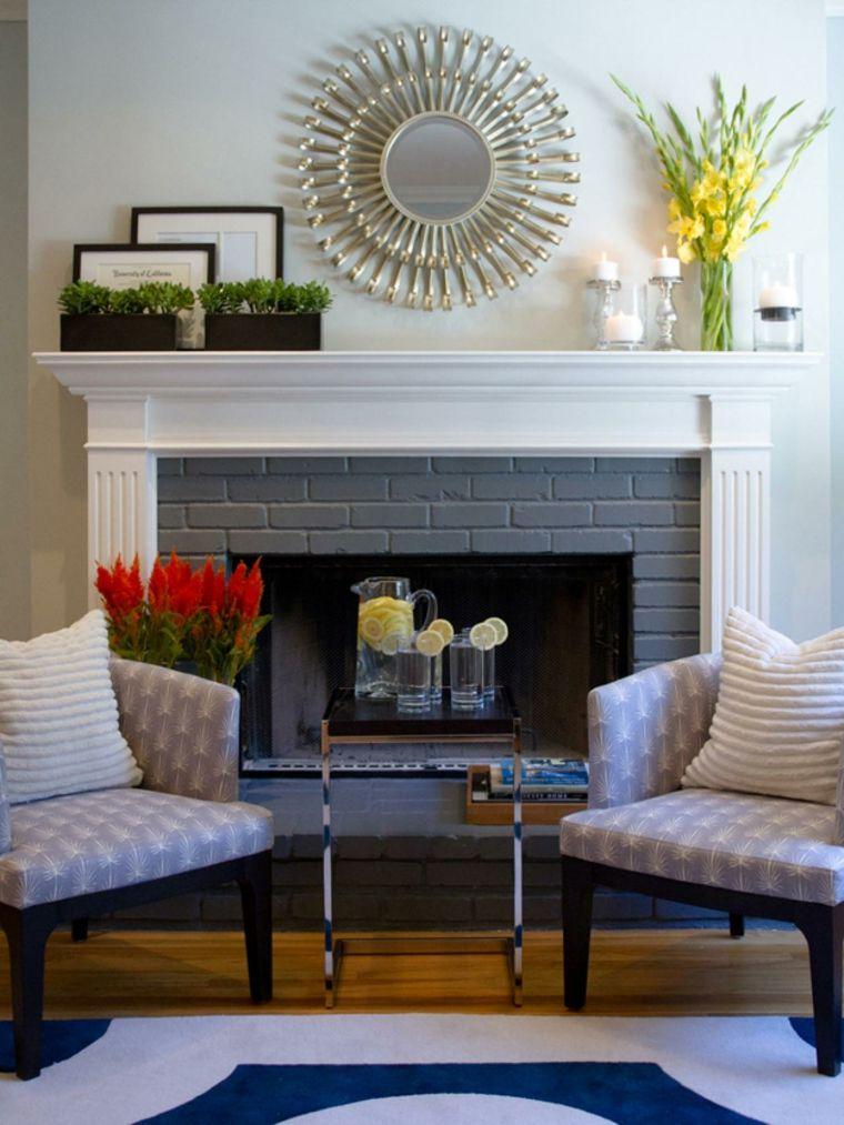 miroir chemin e un beau d cor chemin e avec des miroirs deco pinterest. Black Bedroom Furniture Sets. Home Design Ideas