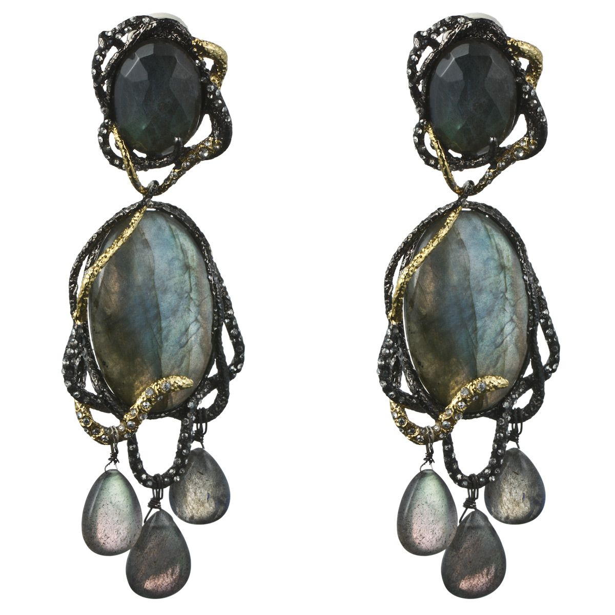 Siyabona Gunmetal Large Labradorite Dangling Clip Earring Earrings Jewelry By Category Alexis Bittar