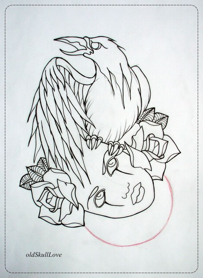 Love Tattoo Outlines: Crow Drawing Tattoo Crow Tattoo Design Outline By