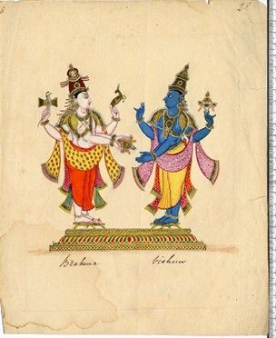 Painting on paper depicting the white-complexioned Nandi in his zoo-anthropomorphic form stands on a low pedestal. He wears a crown, is dressed in a dhoti and an angavstra is draped on his elbows, on his forehead, chest and arms are tripundra marks. In his upper right hand he carries the parashu, in his upper left the mriga. In his lower right hand is a long rod topped with a crouching Nandi image, his lower left hand hangs at his side.