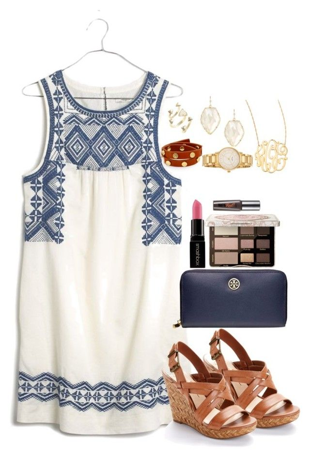 """""""I think I am obsessed with Kendra Scott:)"""" by emma01young ❤ liked on Polyvore featuring Tory Burch, Madewell, Jennifer Zeuner, Kendra Scott, Kate Spade, Jessica Simpson, Smashbox, Too Faced Cosmetics and Benefit"""