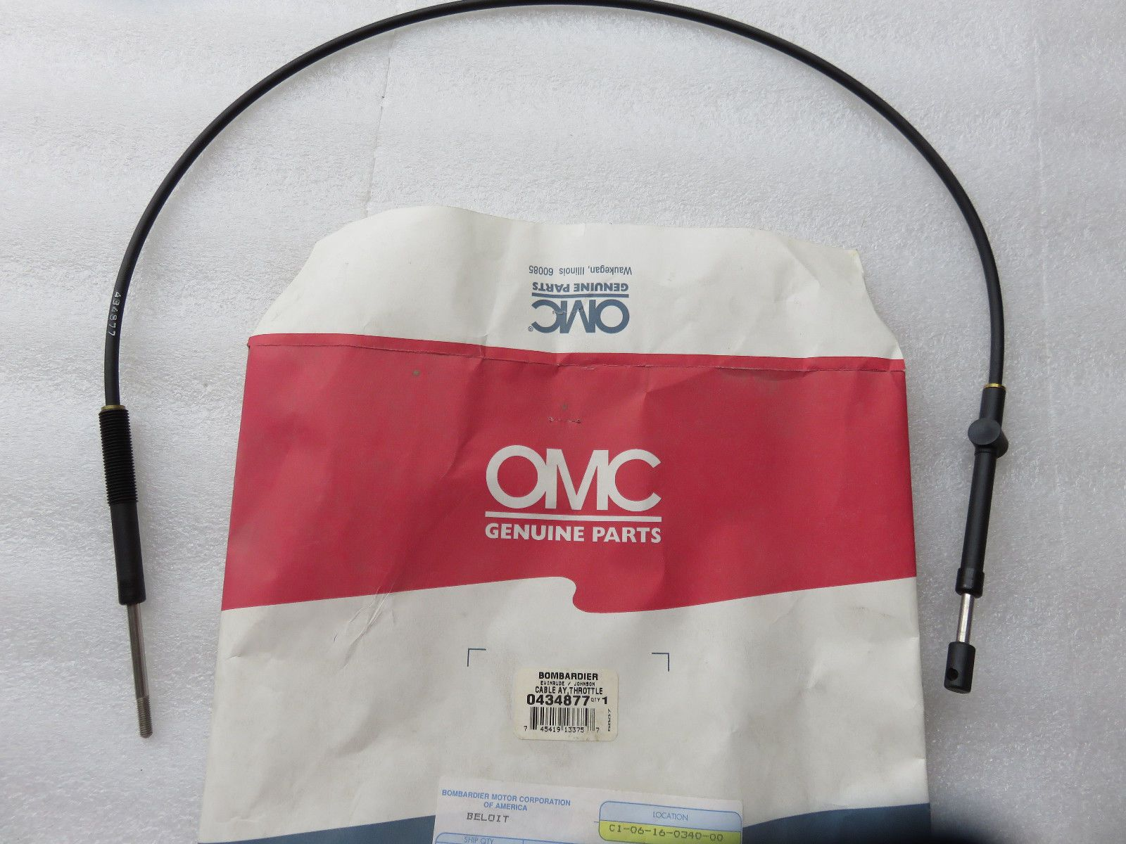 B31 New Omc Johnson Evinrude 0434877 Throttle Cable Factory Oem Wiring Harness Boat Parts Ebay Outboard
