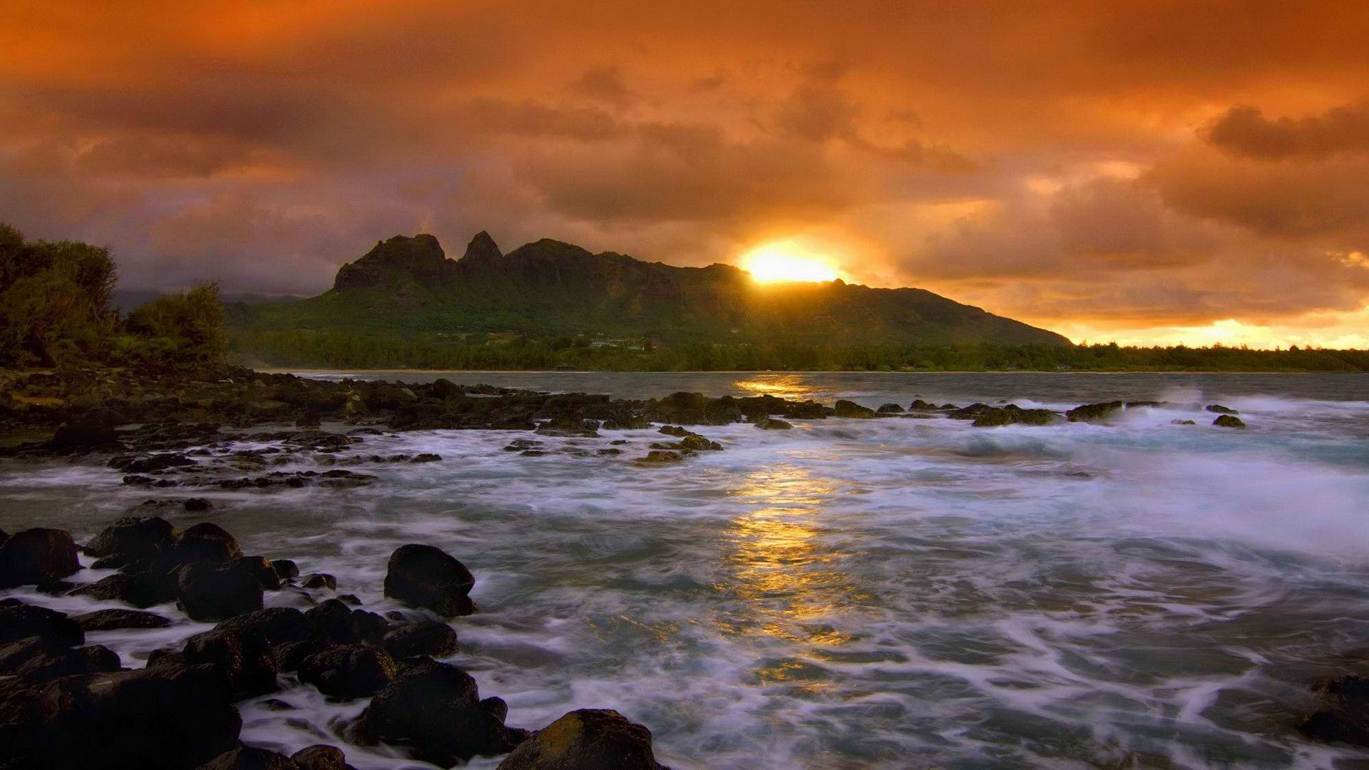 beautiful sunset on seacoast in kauai hawaii hd desktop background wallpaper free