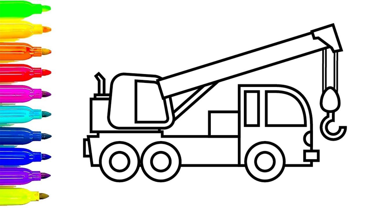 Learn Colors With Construction Truck Coloring Pages, Crane