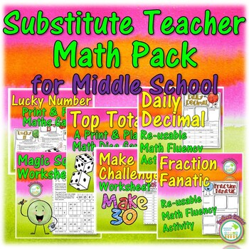 Substitute Teacher Math Resource Bundle for Middle School ...