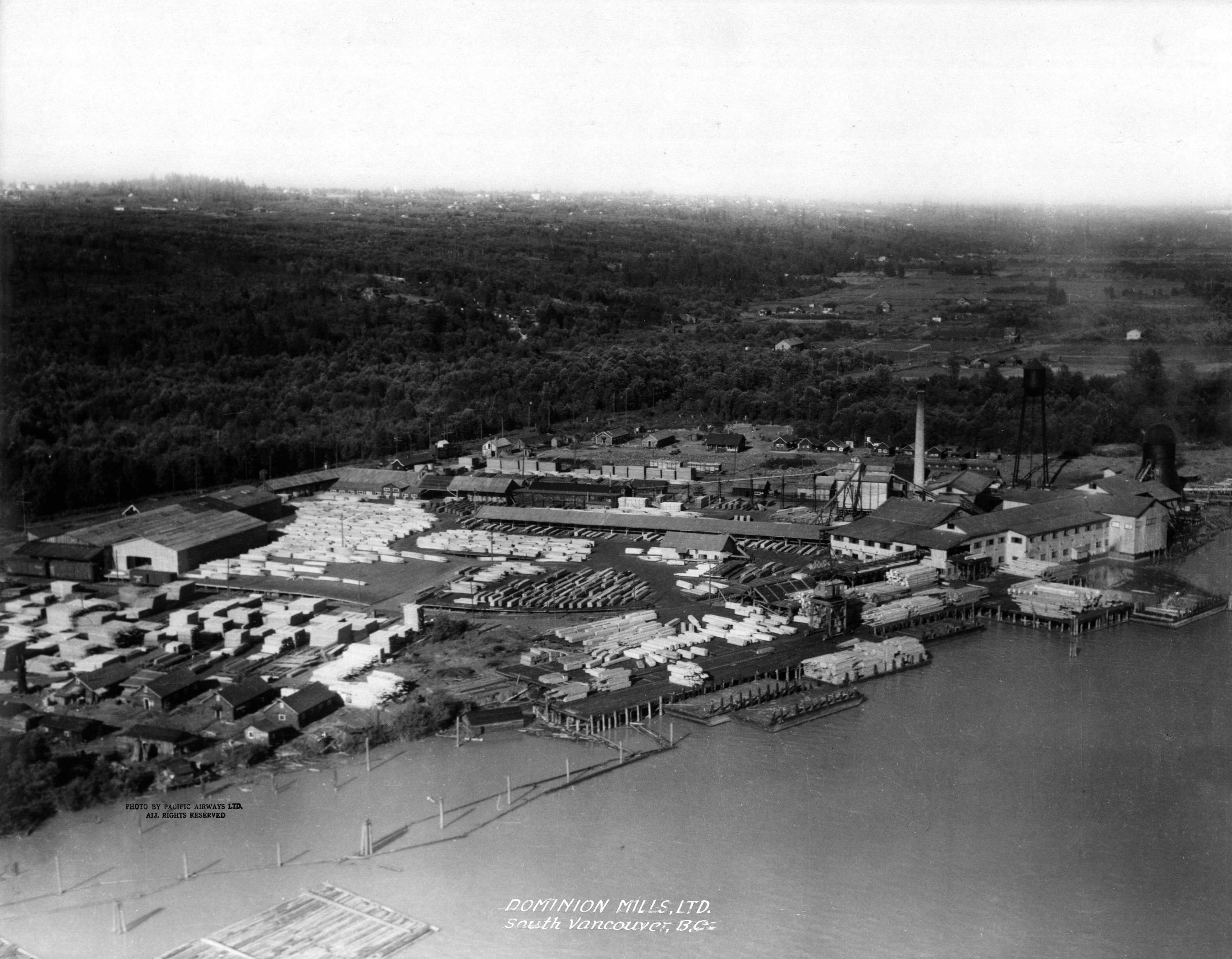 #ThrowbackThursday: Oblique aerial view of Dominion Mills, Ltd. #Vancouver in 1920s.  #TBT  #SouthVancouver #SouthVan #Marpole