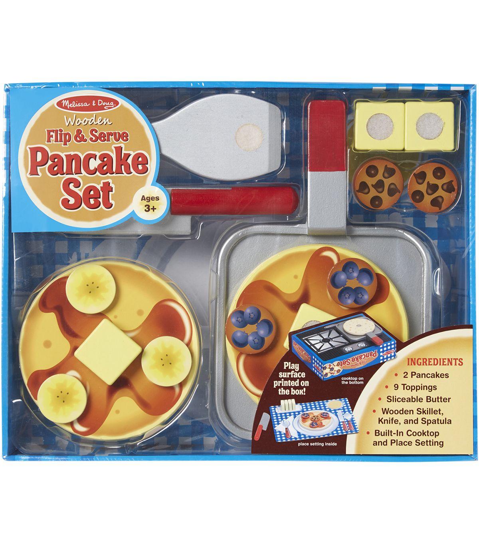 Melissa Doug Wooden Food Set Flip Serve Pancakes