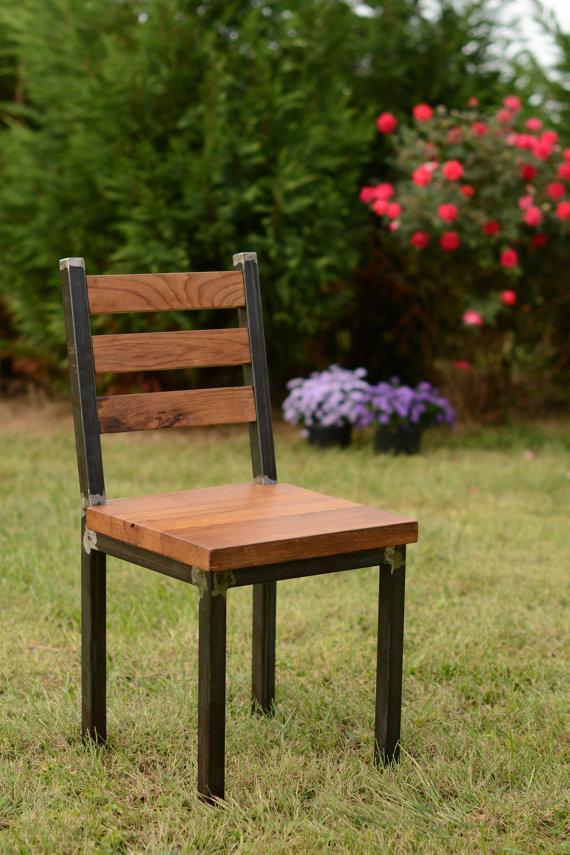 Wood and Steel Dining Chair Reclaimed Lumber door ElpersDesign