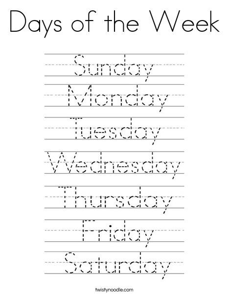 Days Of The Week Coloring Page Preschool Writing, School Worksheets,  Kindergarten Learning