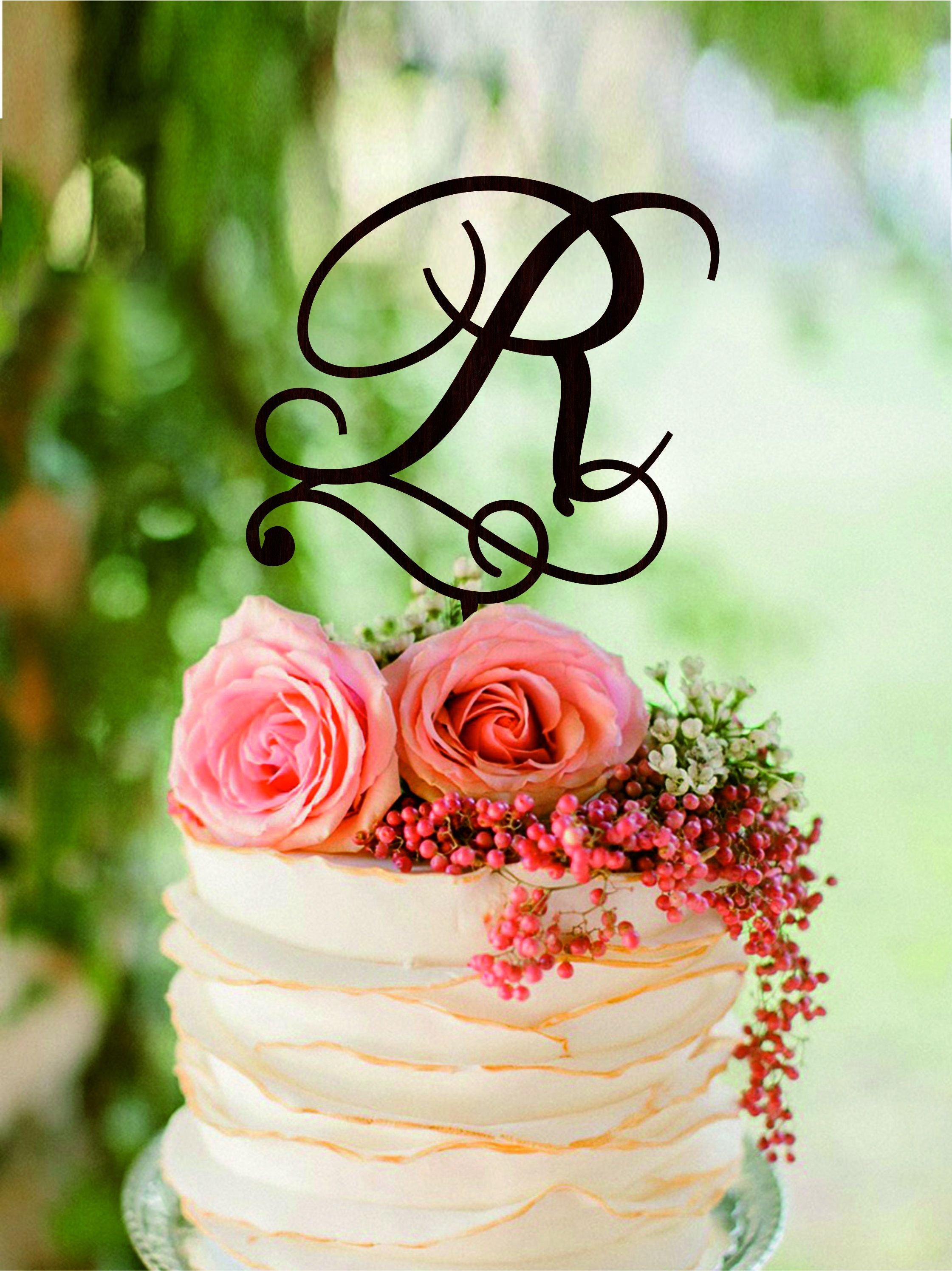 R Letter Wedding Cake Toppers Initial Cake Topper Personalised Wedding Cake  Toppers Wooden Cake Toppers Gold