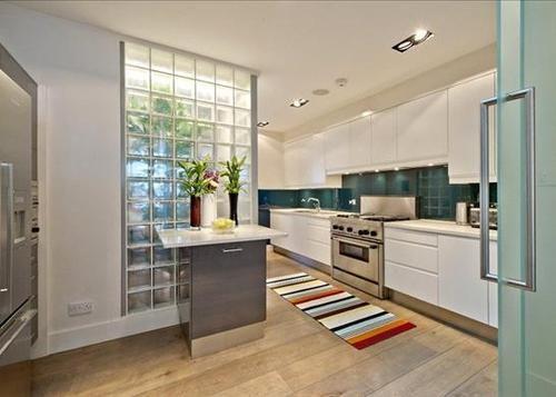 Glass brick wall brick block brick wall kitchen - Glass block windows in living room ...