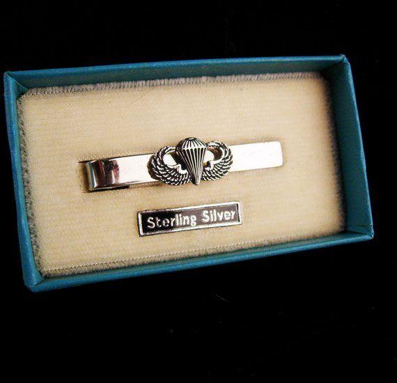 9618ca6cda3f Vintage ww11 sterling military Tie clip / Paratrooper Tie bar / original  case silver wings / parachute Award / Veteran Birthday / Retirement
