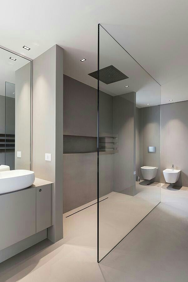 Photo of Floor drain & lighting Consider placing shower glass at any angle that suits the …